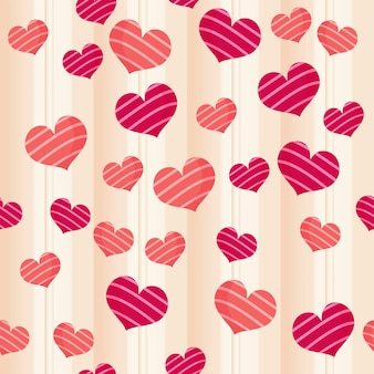 Seamless love theme pattern background in red and beige color.