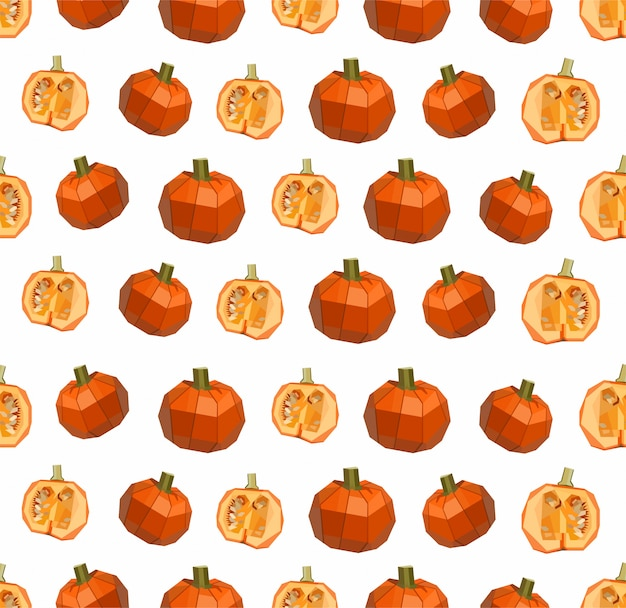 Seamless lowpoly pumpkin pattern on white background
