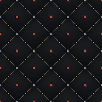 Seamless luxury dark black pattern and background with blue, red diamond
