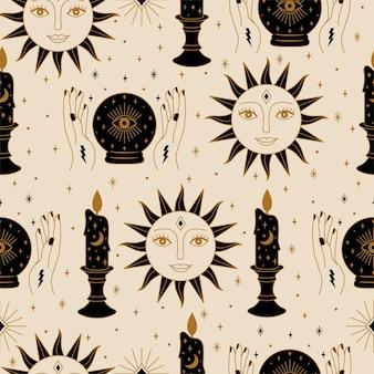 Бесшовный волшебный узор с хрустальным шаром и дизайном солнца в векторе