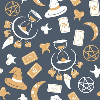 Seamless magic pattern with tarot card teeth necklace moon hourglass and pentagram