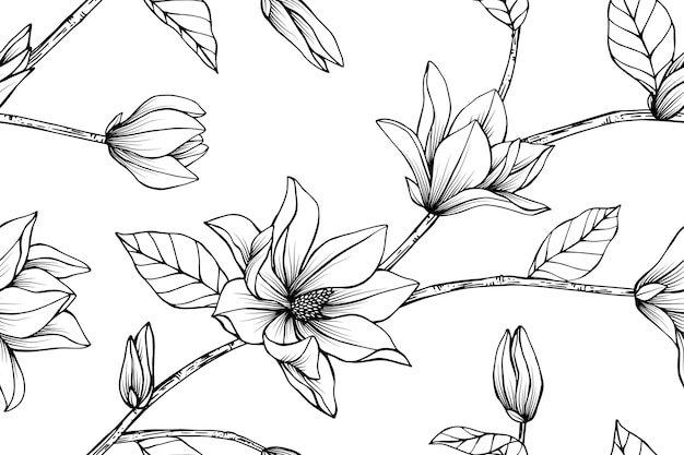 Seamless magnolia flower pattern background.