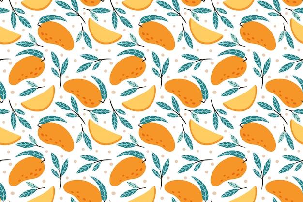 シームレスなマンゴーパターン。手描き落書きグルメ甘いマンゴー背景イラスト