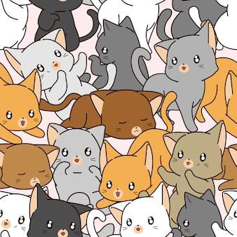 小さな猫柄のシームレスな多く。