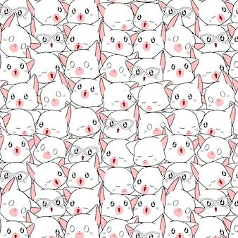 Seamless many white cat pattern.