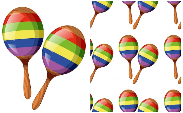 Seamless maracas pattern isolated on white