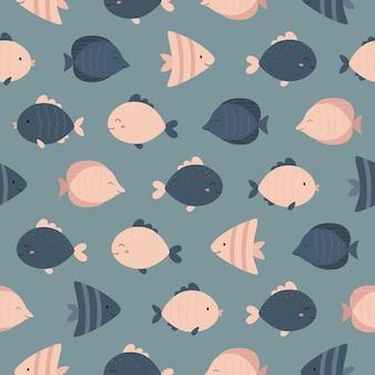 Seamless marine pattern cute fish
