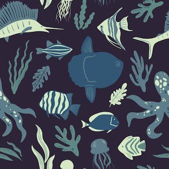 シームレスな海洋パターン海洋生物と海の生き物や動物航海の背景