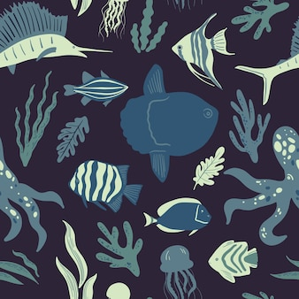 Seamless marine pattern ocean life and sea creatures or animals nautical background