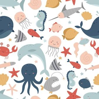 Бесшовные морской узор на белом фоне подводный мир дельфин, акула, кит, рыба-меч