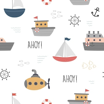 Seamless marine pattern on a white background boat steamer sailboat waves fish