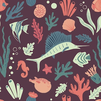 Seamless marine pattern with fishes ocean life and sea creatures nautical background