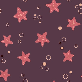 Seamless marine pattern with starfish ocean life and sea creatures nautical background