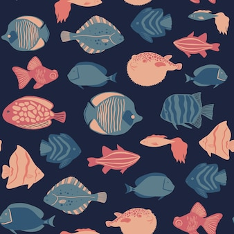 Seamless marine pattern with tropical fishes ocean life and sea creatures nautical background