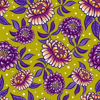 Seamless medieval pattern with fantasy flowers in green coral violet colors