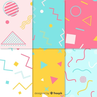 Seamless memphis pattern collection