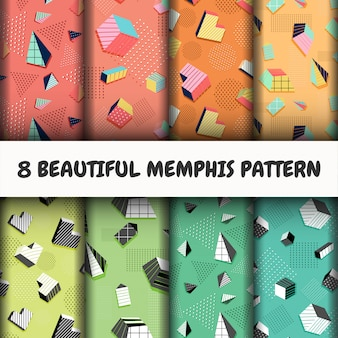 Seamless memphis pattern set.