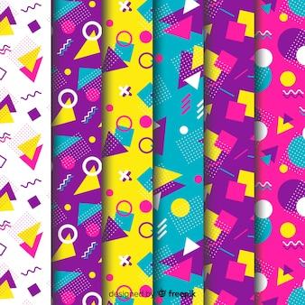 Seamless memphis pattern set