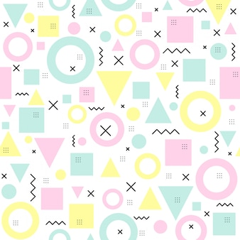 Seamless memphis pattern with geometric shapes.