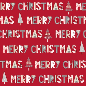 Seamless merry christmas letter on red background