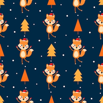Seamless merry christmas pattern with fox isolated on blue background.