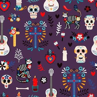 Бесшовные мексиканский мертвый узор