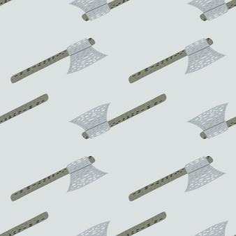 Бесшовный минималистичный узор с стилизованным орнаментом топорик викингов