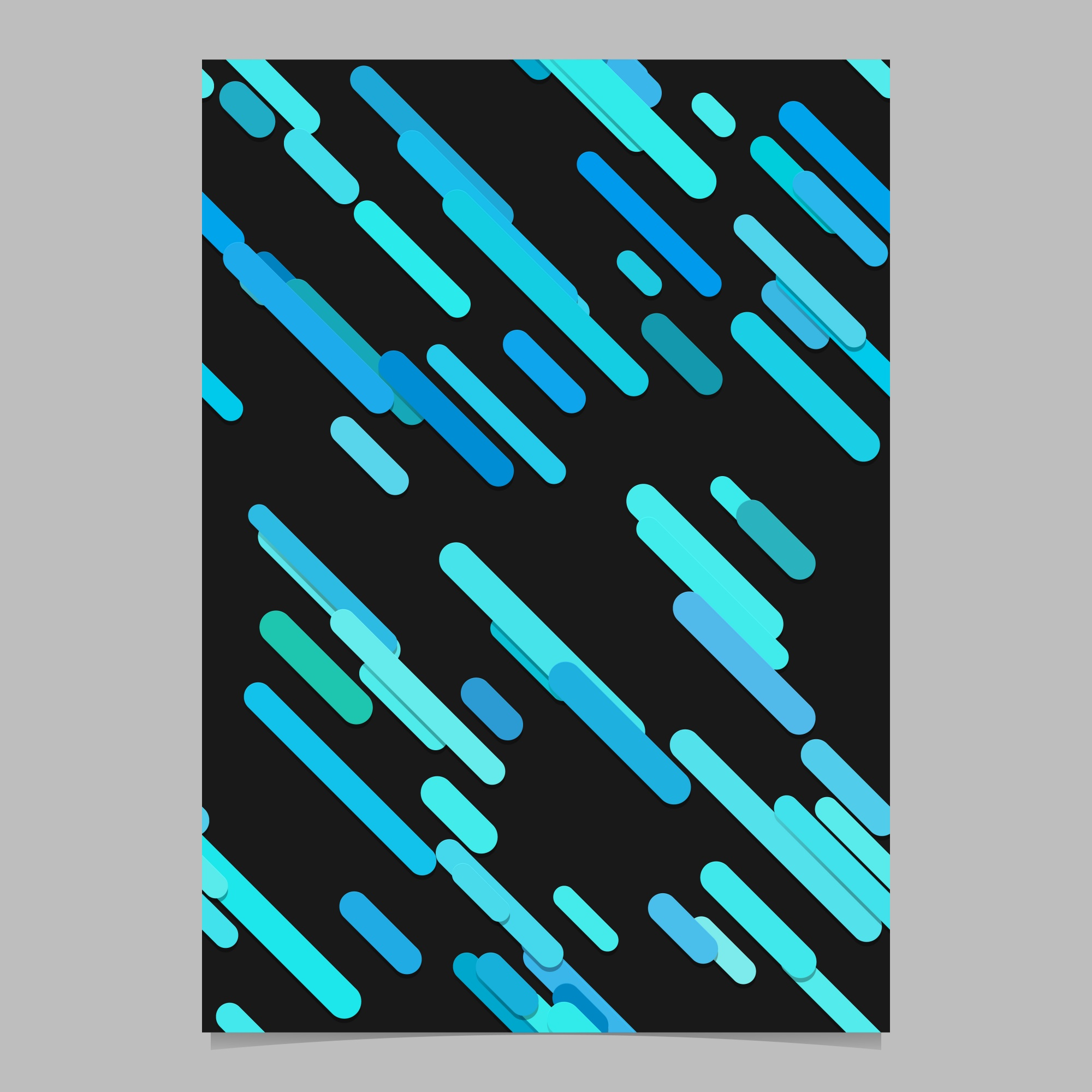 Seamless modern chaotic rounded diagonal stripe pattern brochure design template - vector stationery background graphic from stripes in light blue tones