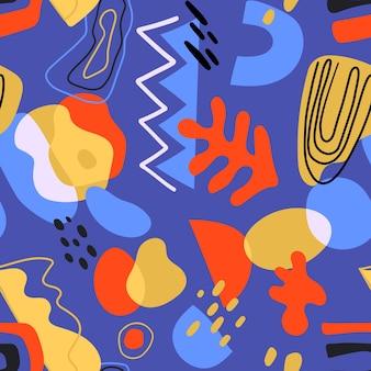 抽象的なさまざまな形や落書きオブジェクトとのシームレスなモダンなパターン。トレンディな現代的なデザイン