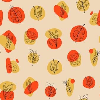 抽象的なさまざまな形、落書き植物や葉を持つシームレスなモダンなパターン。トレンディな現代的なデザイン