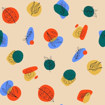 Seamless modern pattern with abstract various shapes, doodle plants and leaves. trendy contemporary design