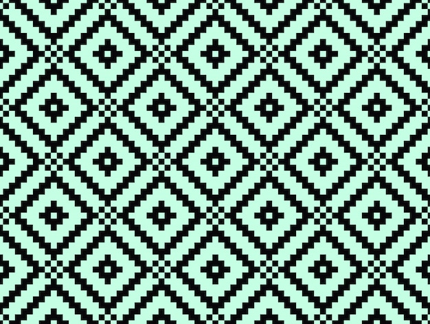 Seamless modern stylish texture and pattern. black repeating geometric tiles with dotted rhombus on a turquorise background.