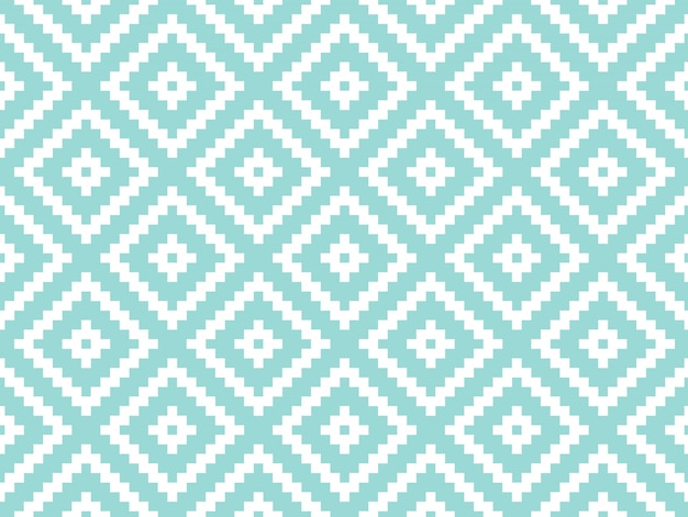 Seamless modern stylish texture and pattern. white repeating geometric tiles with dotted rhombus on a turquorise background.
