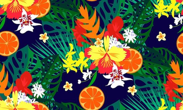 Seamless modern tropical pattern