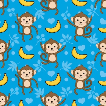 Seamless monkey and banana vector pattern background