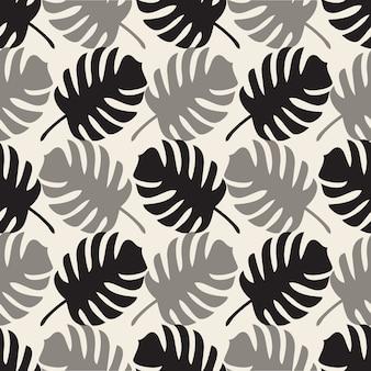 パームリーフとシームレスな単色抽象的な自然のパターンの背景