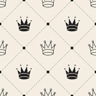 Seamless monochrome  crown pattern