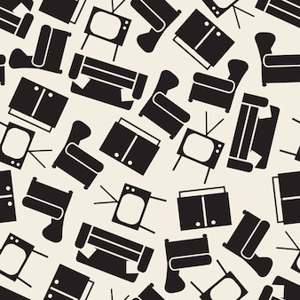 Seamless monochrome furniture from living room pattern