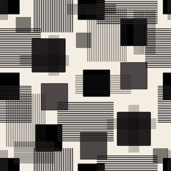 Seamless monochrome geometric pattern background with square and stripe line