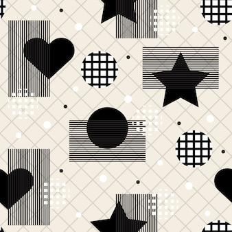 Бесшовный монохромный геометрический фон с сердцем и сердцем
