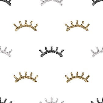 Seamless monochrome glitter eyelash pattern on white background