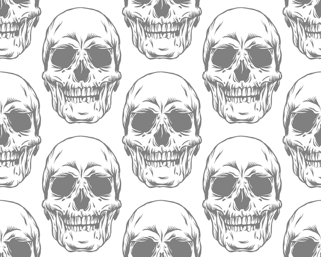 Seamless monochrome gray pattern with skulls on white background