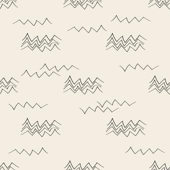 シームレスなモノクロ手描きのマウンテンパターンの背景