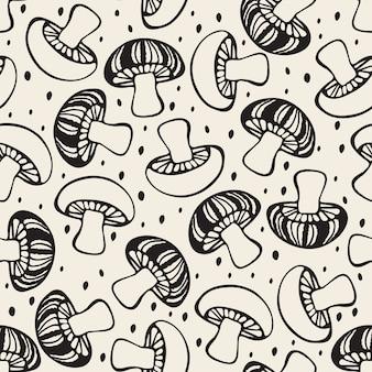 Бесшовный монохромный рисованный фон из грибов
