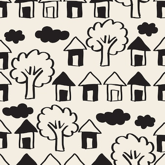 Бесшовные монохромный рисованной деревне с домом, небо и дерево шаблон фон