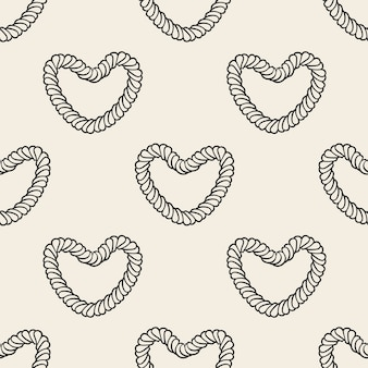 Seamless monochrome heart from a rope pattern background