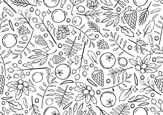 Seamless monochrome line hand drawing christmas background christmas time illustration greeting cards template with flowers and petals in white background