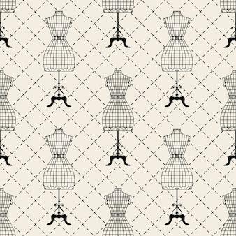 Seamless monochrome mannequin pattern background