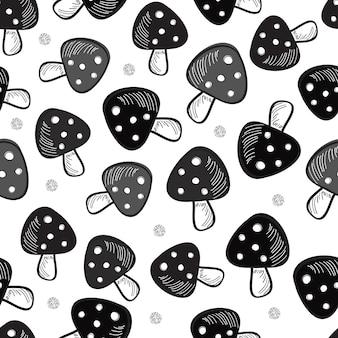 Seamless  monochrome mushroom