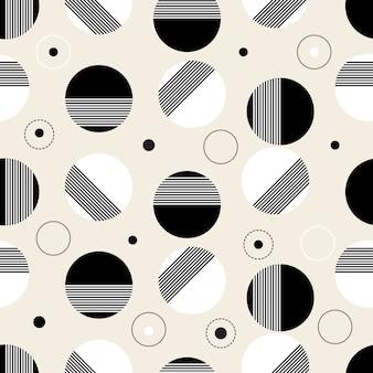 水玉模様のシームレスな白黒パターンの背景